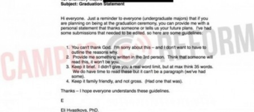 First Amendment Violation: University Professor Bans Students From Thanking God During Graduation Statements…