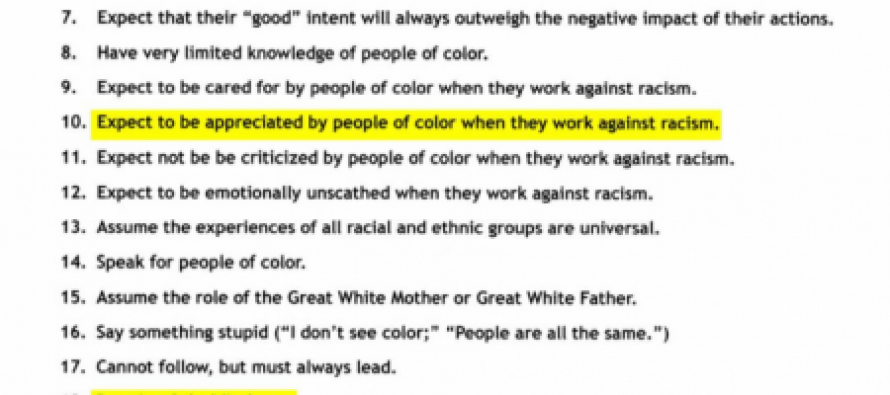 "Racist White Privilege Conference Puts Out Flyers on ""Pitfalls of Working With White People"""