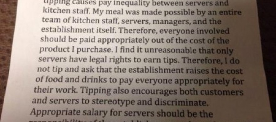 "How a Progressive Leftist says ""I'm too cheap to tip."""