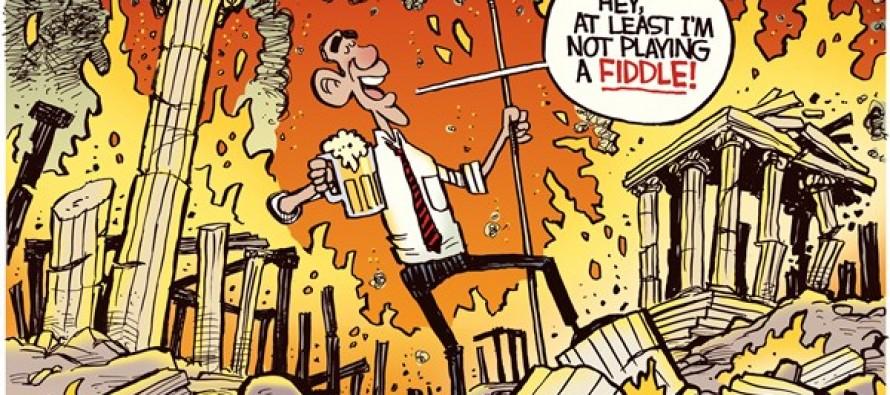 Obama Fiddles (Cartoon)