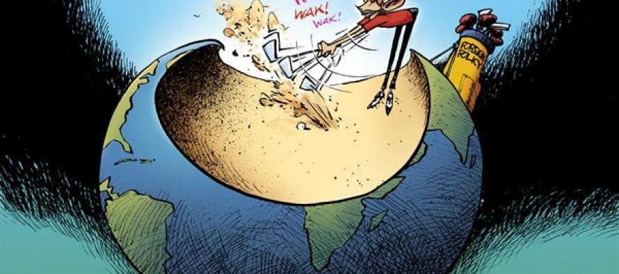 Obama Golfs (Cartoon)