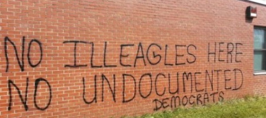"""Horribly Misspelled Anti-Illegal Immigration Graffiti Classified as a """"Hate Crime"""" in Maryland"""