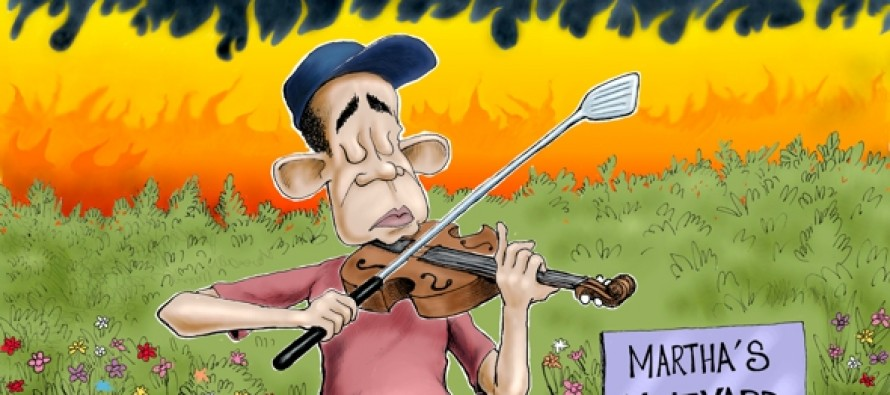 Obama Fiddles (Cartoon)