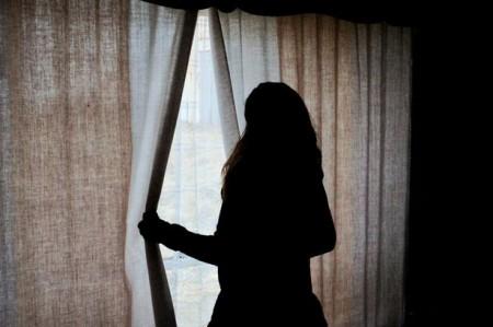woman curtain