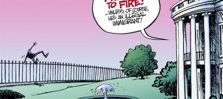 White House Fence-Jumper (Cartoon)