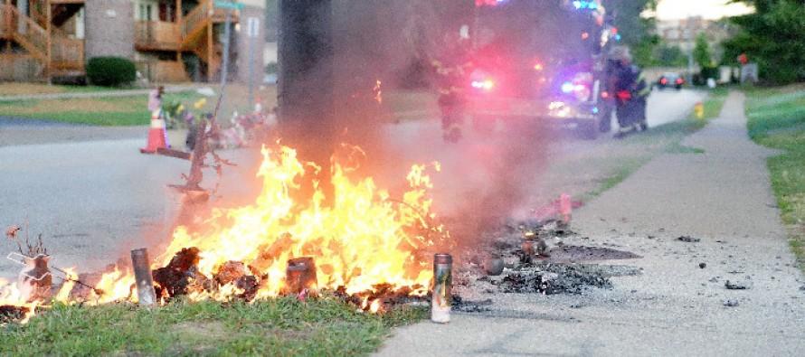 After Weeks of Calm, Ferguson Erupts Over Burned Memorial