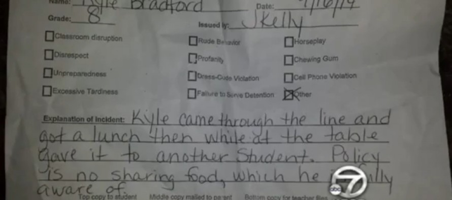 13-Year-Old Gets Punished at School With Detention for Sharing His Lunch With His Friend