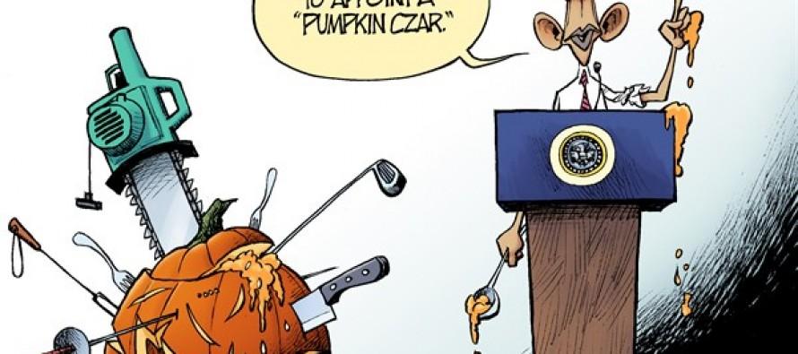 Pumpkin Carver-In-Chief (Cartoon)
