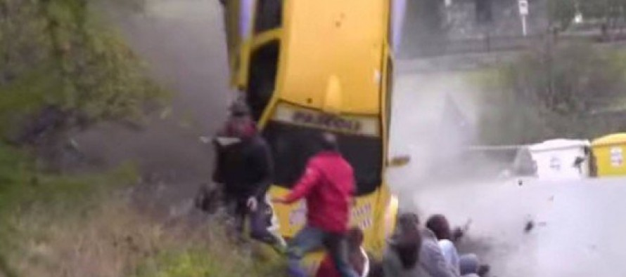RUN!  An Italian Rally Car Flies Off The Racetrack Towards An Unsuspecting Crowd (Video)
