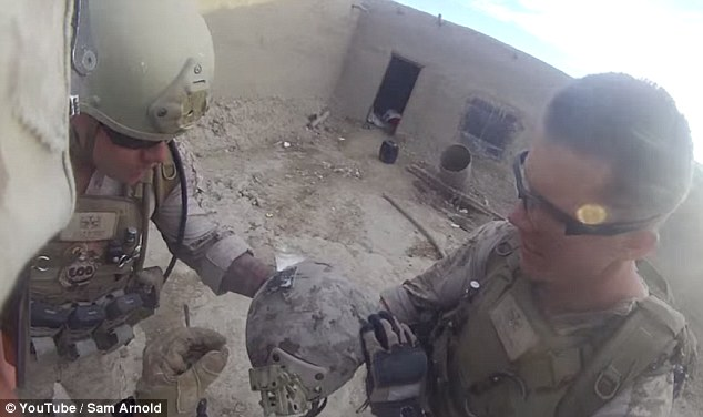 'You lucky son of a b****': The group marvels at the lifesaving helmet before moving on to fight other battles