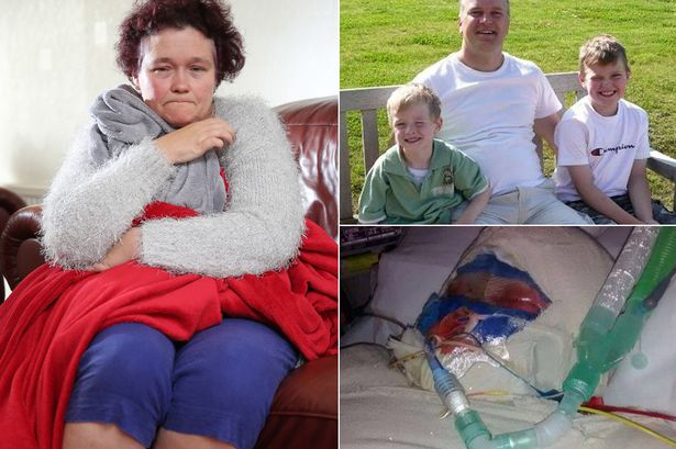 Devastated: Claire with the boys' blankets, killer Darren with his kids and Jack fighting for his life