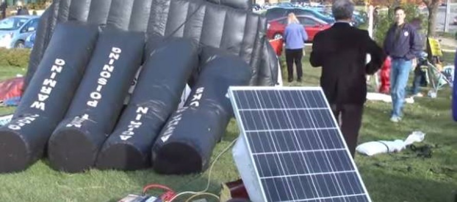 VIDEO: Anti-Coal Protest Fails Quite Ironically When Solar Battery Can't Fill Up Smokestack-Shaped Balloon