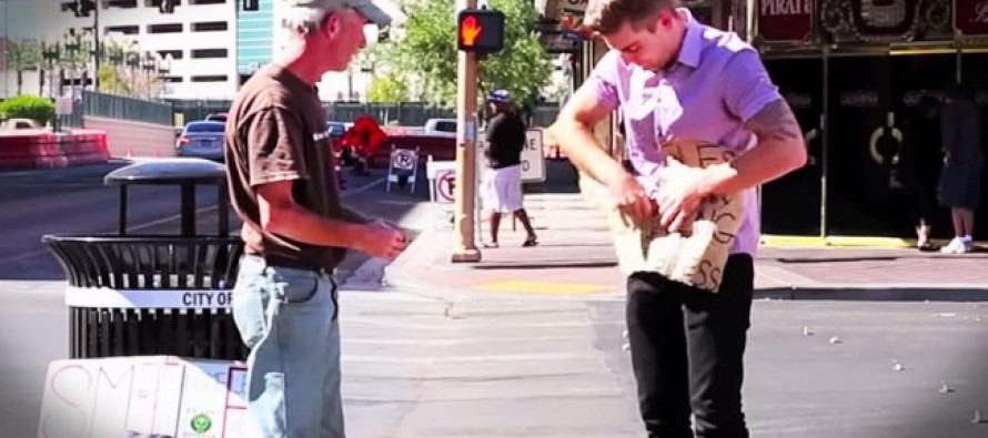 A Homeless Vet Thought a Cruel Stranger Was Tearing Up His Sign, He Wasn't Ready for a Magic Trick