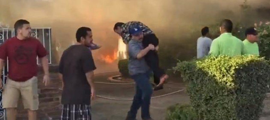 AMAZING VIDEO: Man Walks Into Burning House and Rescues Stranger and Then Disappears