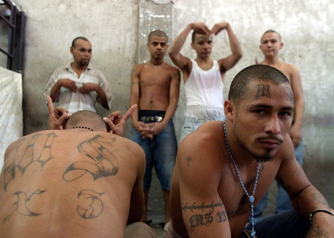 Members of the street gang 'MS13' serve jail sentences at the National Penitentiary in Tamarac, Hond..
