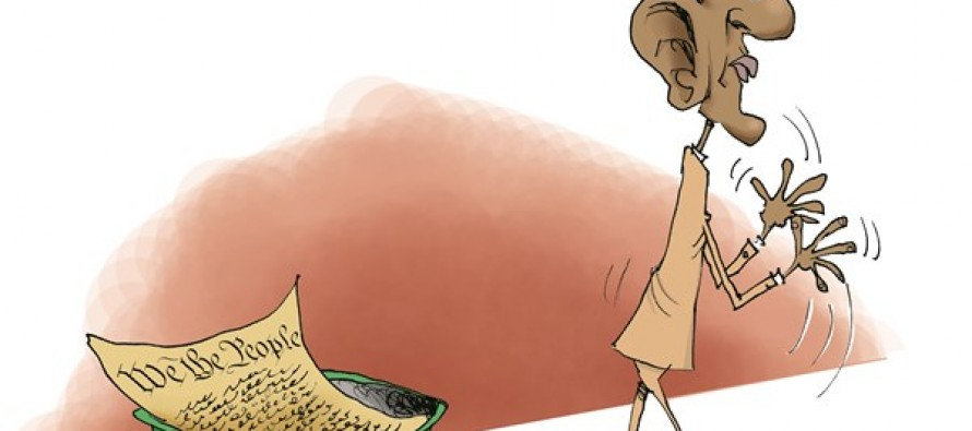 Obama Trashes Constitution (Cartoon)