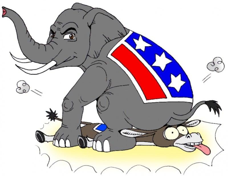 Vix_Politics_RepublicanElephantsitsonDemocratDonkey