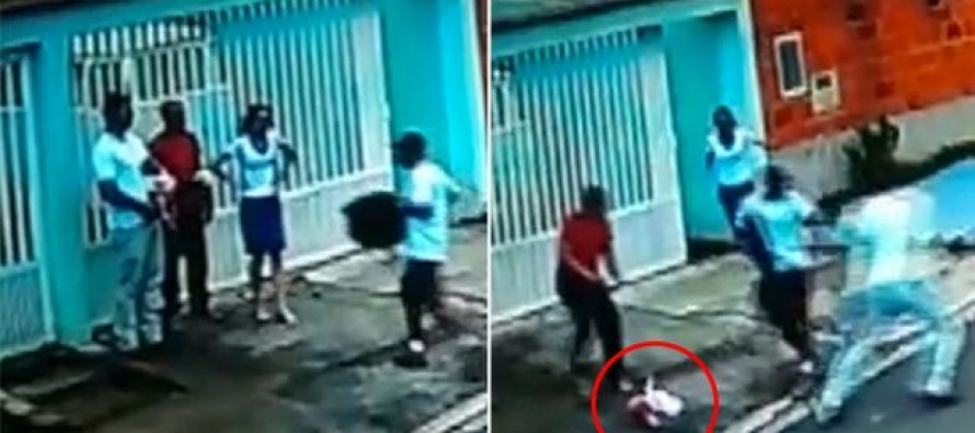INSANE FOOTAGE: Off Duty Cop Drops Baby to SHOOT Armed Robber Who Attacked Him!