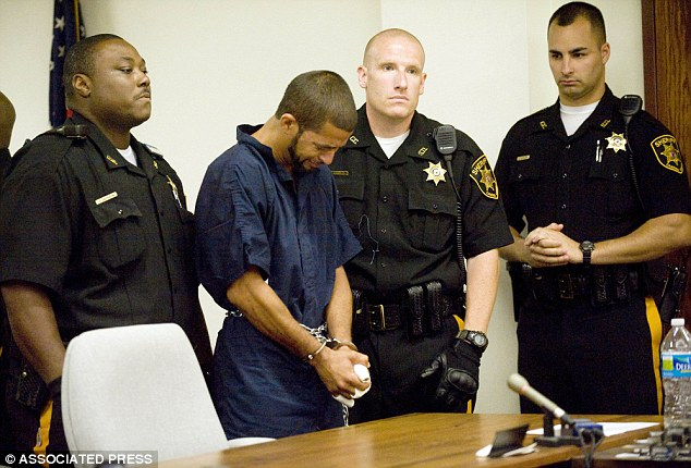 Rivera, pictured above weeping at a 2012 hearing, was convicted of crimes including murder, attempted murder and aggravated sexual assault.