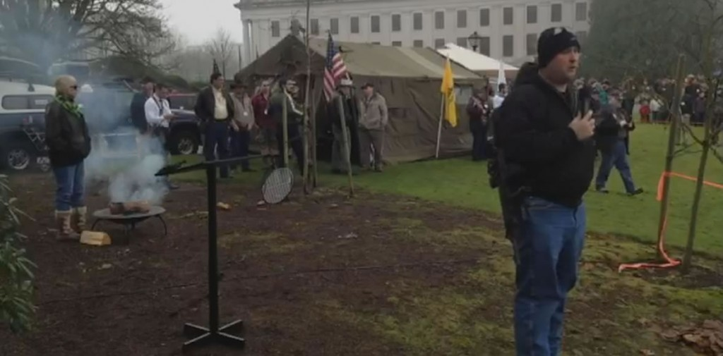 Rep. Graham Hunt addressed the rally sporting an AR-15.