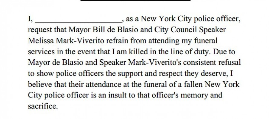 NYPD union BANS Mayor Blasio from funerals of cops killed on duty after his callous remarks regarding Garner chokehold death