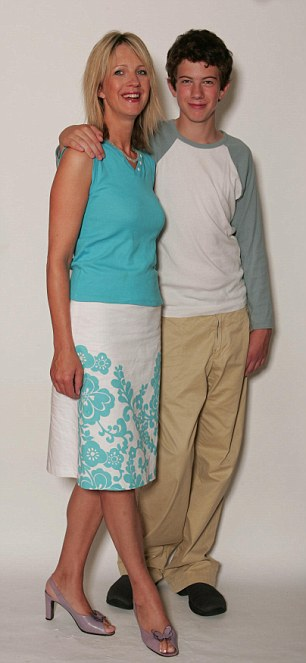 Jake with his mother Julie at age 15, before his drug-addiction spiral.