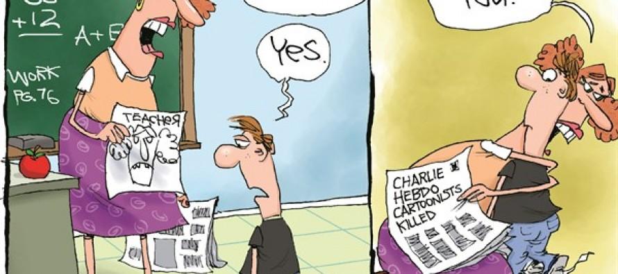 Charlie Hebdo Courage (Cartoon)