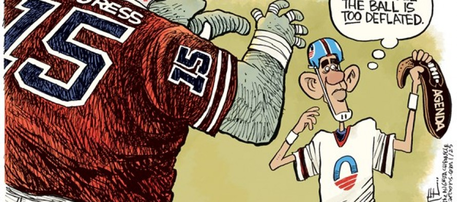 Obama Deflated Ball (Cartoon)