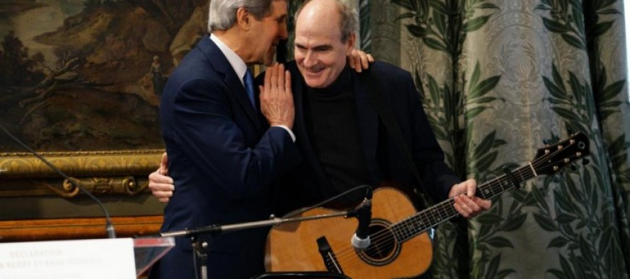 NAUSEATING VIDEO: Kerry Gives Paris His Promised 'Big Hug' Plus Brings James Taylor With a Special Song