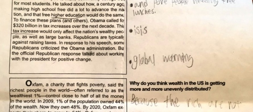 Stunning.. School Board candidate exposes sixth-grade liberal indoctrination homework