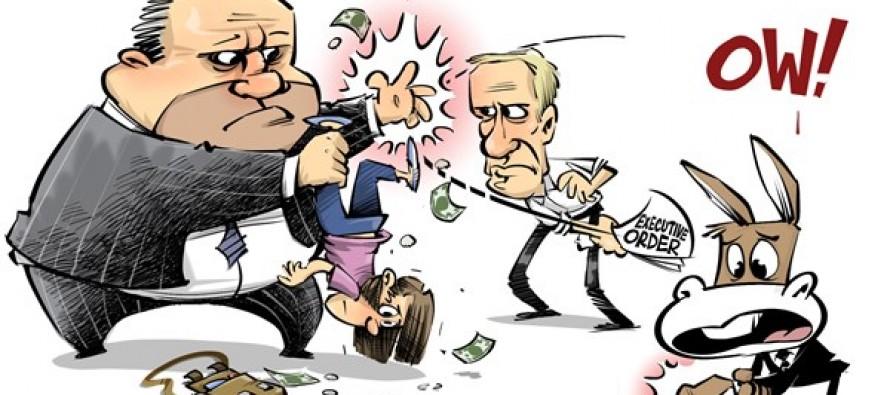 Rauner smacks unions (Cartoon)