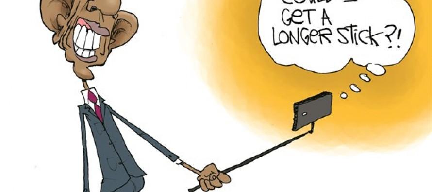 Obama Selfie Stick (Cartoon)