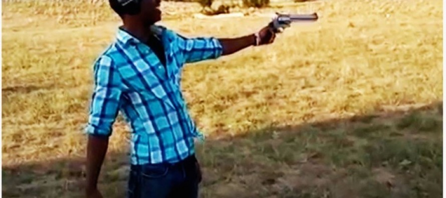 CRAZY FOOTAGE: Big shot man loses control of Smith & Wesson- you won't believe why!