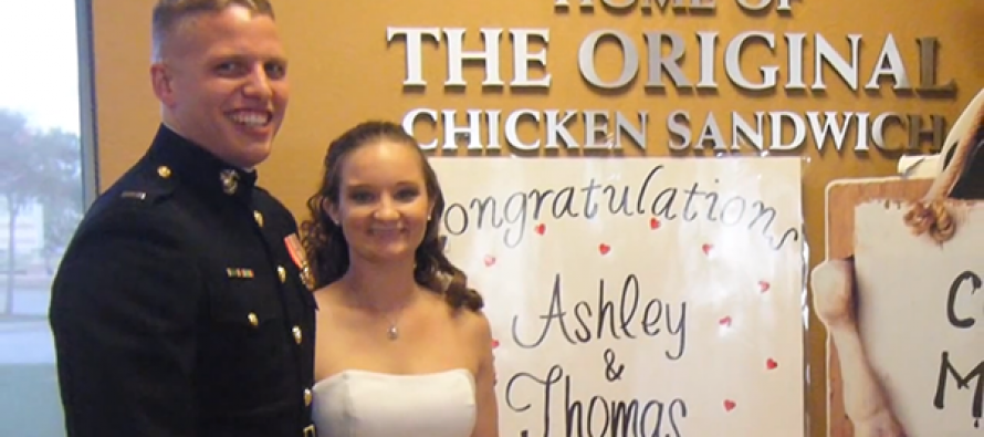 SURPRISE!: A Marine & His New Bride Went To Chick-Fil-A After Getting Married THEN Guess What Happens?