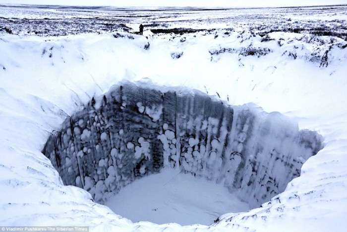 crater in russia snow