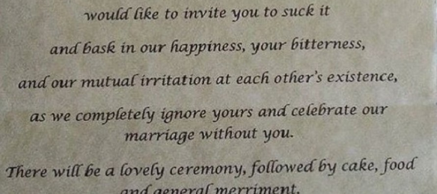 The Blistering Wedding Invitation this Bride Sent to Her Estranged Parents Has Gone VIRAL