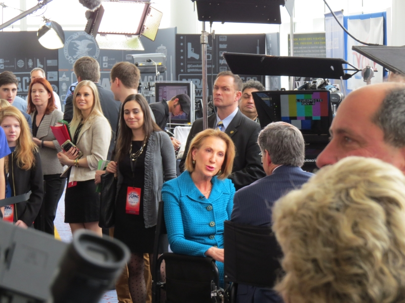 Carly Fiorina is interviewed on radio row