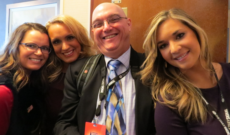 Brooke McGowan, Scottie Hughes, Ed Morrissey & Katie Pavlich wait to get into a private meeting with Ted Cruz