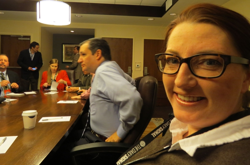 Right Wing News writer Katie McGuire sits right next to Ted Cruz in a private meeting