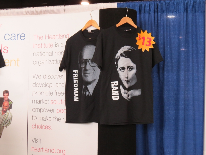 The Heartland Institute was selling Milton Friedman and Ayn Rand t-shirts in the vendor area