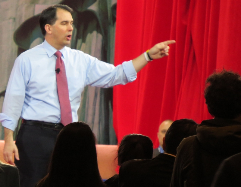 Scott Walker speaking from the main stage at CPAC