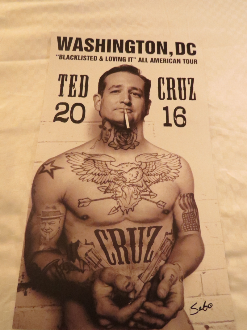 Sabo autographed his Ted Cruz guerrilla art poster in the vendor area