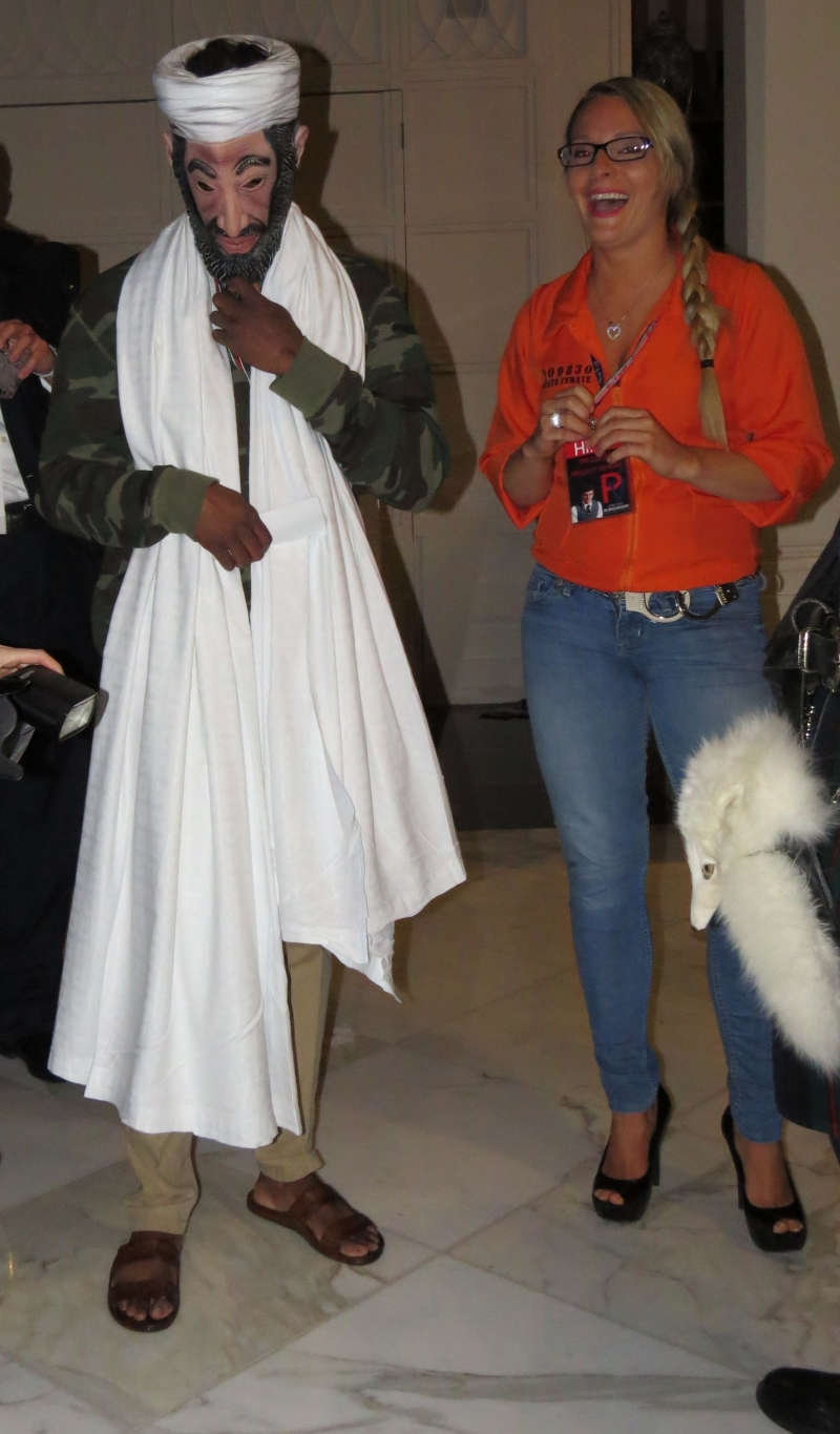 A staffer dressed up as Osama Bin Laden from James O'Keefe's border video at the full to overflowing Project Veritas Party