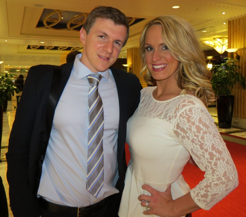 James O'Keefe and Scottie Hughes in the lobby of the Gaylord Hotel