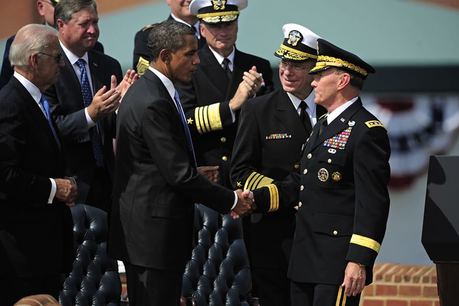 Defense.gov_News_Photo_110930-F-RG147-1242_-_President_Barack_Obama_congratulates_the_new_Chairman_of_the_Joint_Chiefs_of_Staff_Gen._Martin_E._Dempsey_U.S._Army_during_the_chairman_of_the