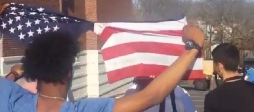 VILE: Ferguson Protesters Shred and Stomp On an American Flag Outside the Police Department (VIDEO)