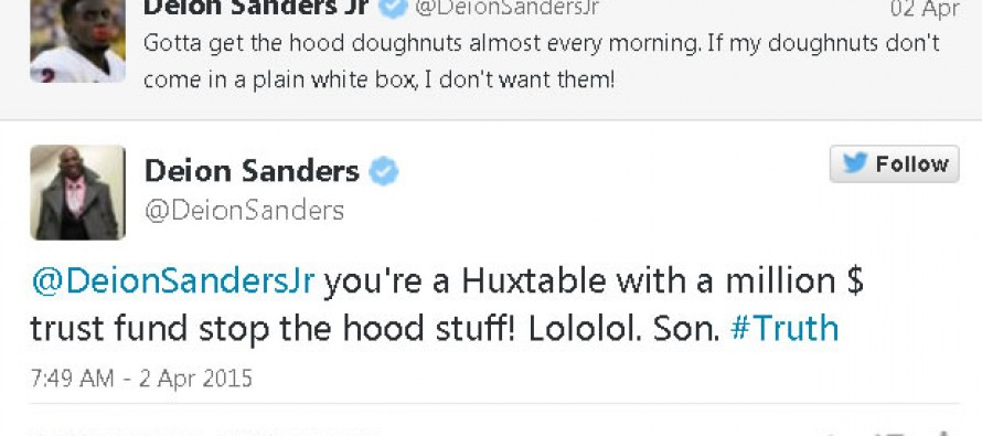 Deion Sanders Disses Son on Twitter for Pretend Street Cred