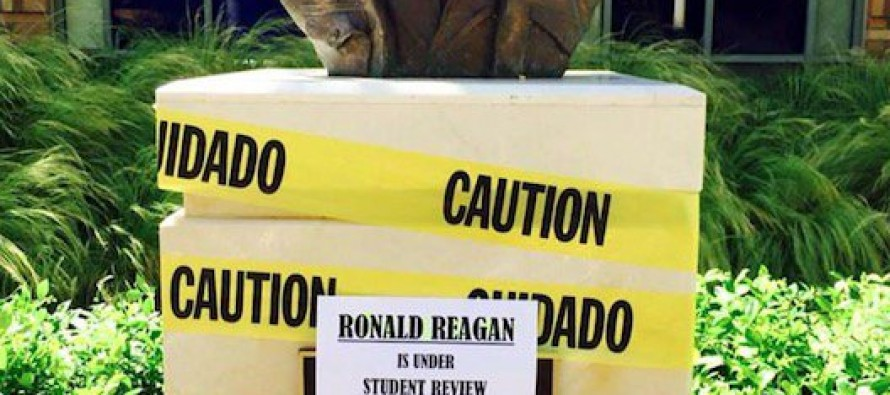 Chapman University allows Reagan bust to be defaced.