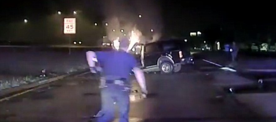 VIDEO: The Dramatic Moment Hero Cops Pulled Unconscious Man from His Burning Car – and Saved Him From Certain Death