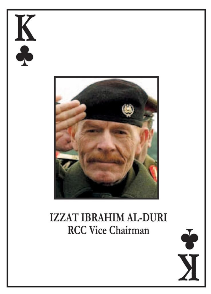 File photograph shows a U.S. issued playing card bearing the image of Ezzat Ibrahim al-Douri